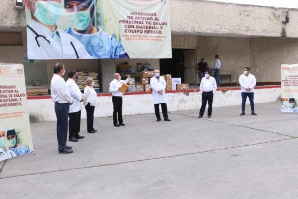 Sección 21 del SNTE participa en la entrega simultánea de materiales e insumos médicos al ISSSTE00002