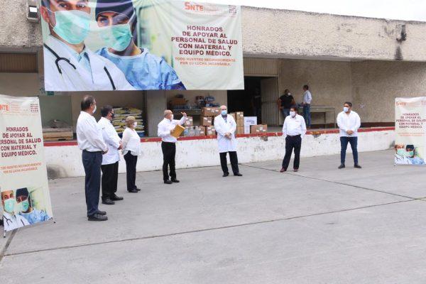 Sección 21 del SNTE participa en la entrega simultánea de materiales e insumos médicos al ISSSTE00007