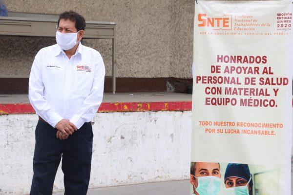 Sección 21 del SNTE participa en la entrega simultánea de materiales e insumos médicos al ISSSTE00008