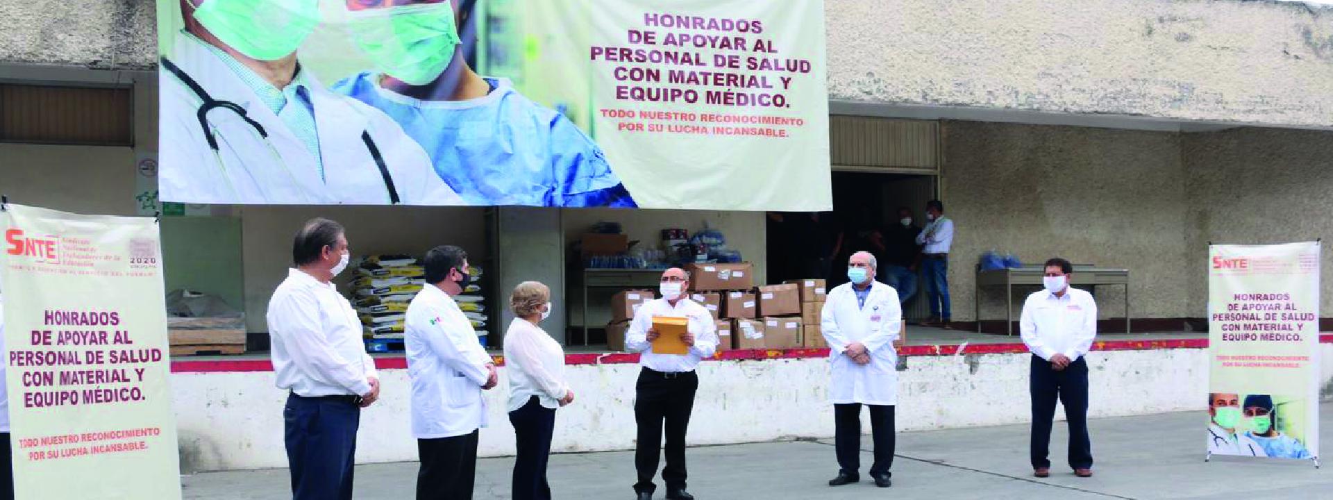 Sección 21 del SNTE participa en la entrega simultánea de materiales e insumos médicos al ISSSTE