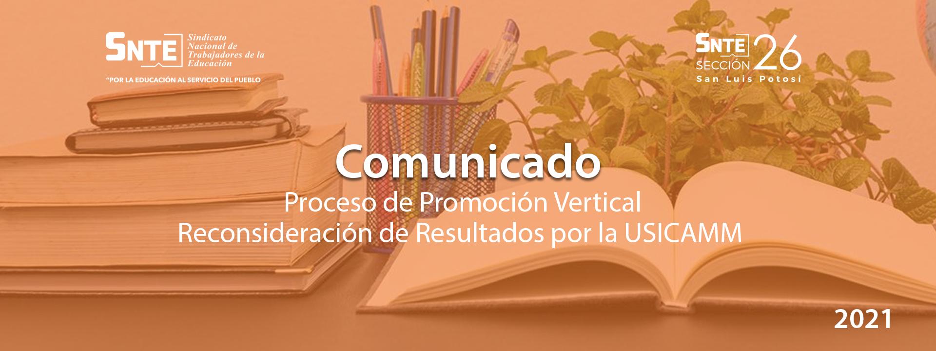 Comunicado: Proceso de Promoción Vertical, Reconsideración de Resultados por la USICAMM