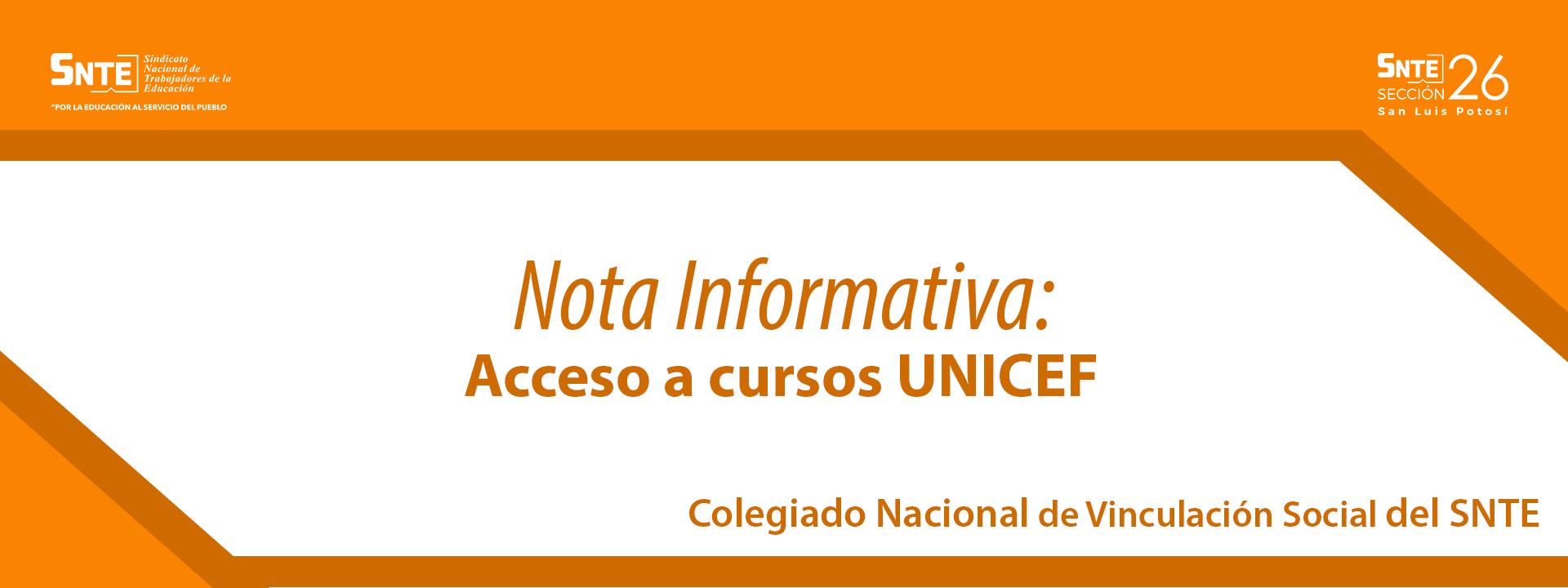 Nota Informativa: Acceso a cursos UNICEF