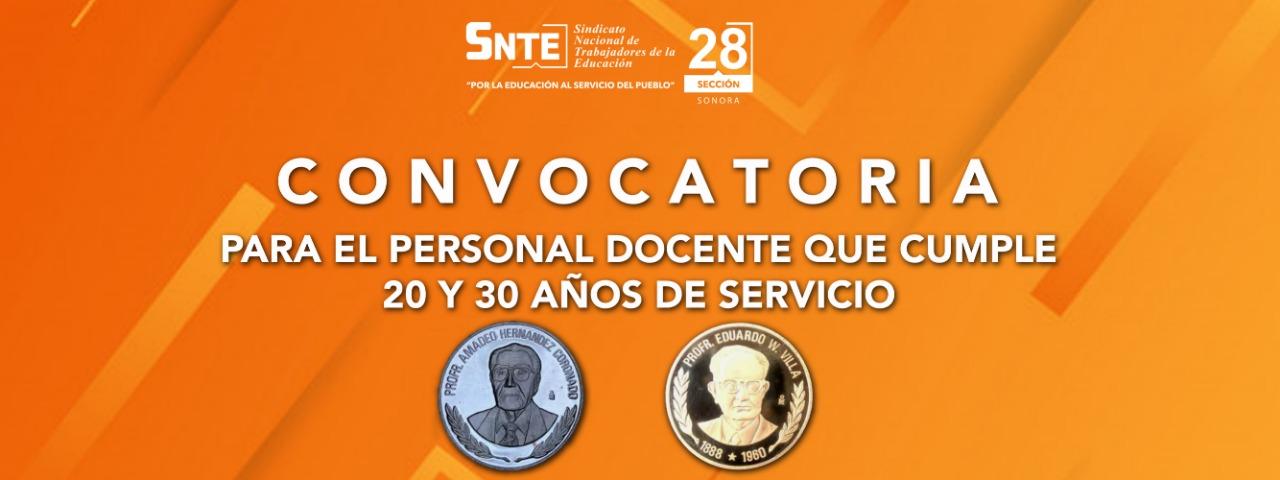 Convocatoria para personal Docente que cumple 20 y 30 Años de Servicio