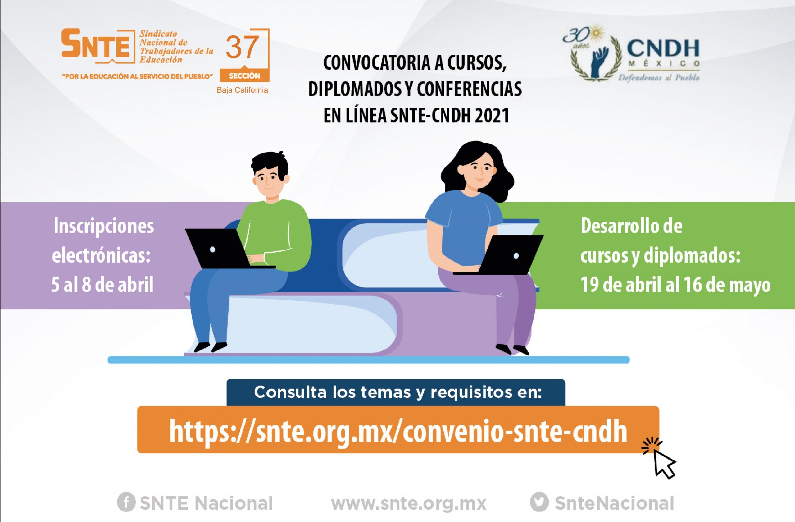 Convocatoria a cursos, diplomados y en linea SNTE-CNDH 2021, Segundo Periodo