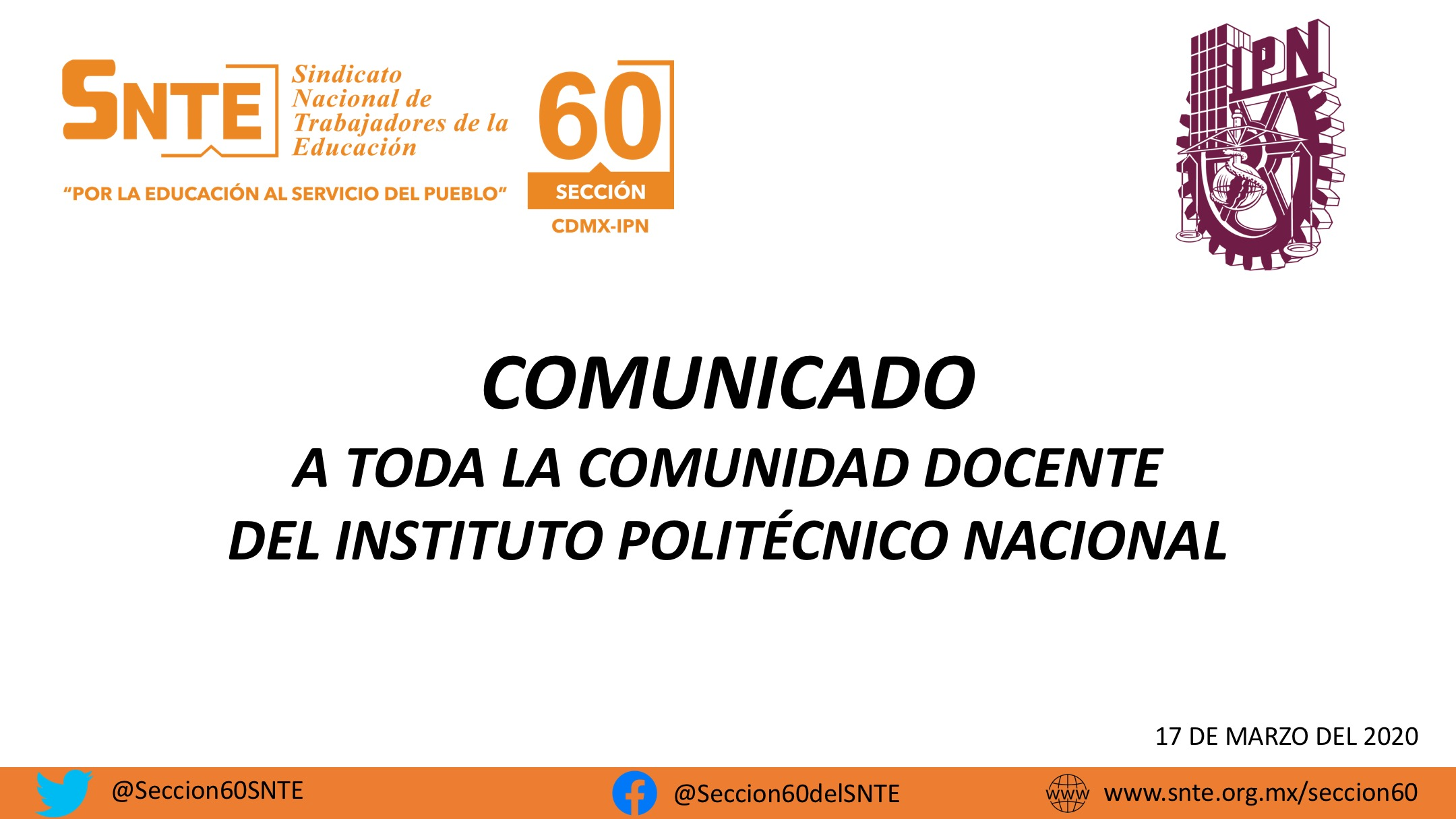 COMUNICADO A TODOS LOS DOCENTES DEL IPN.