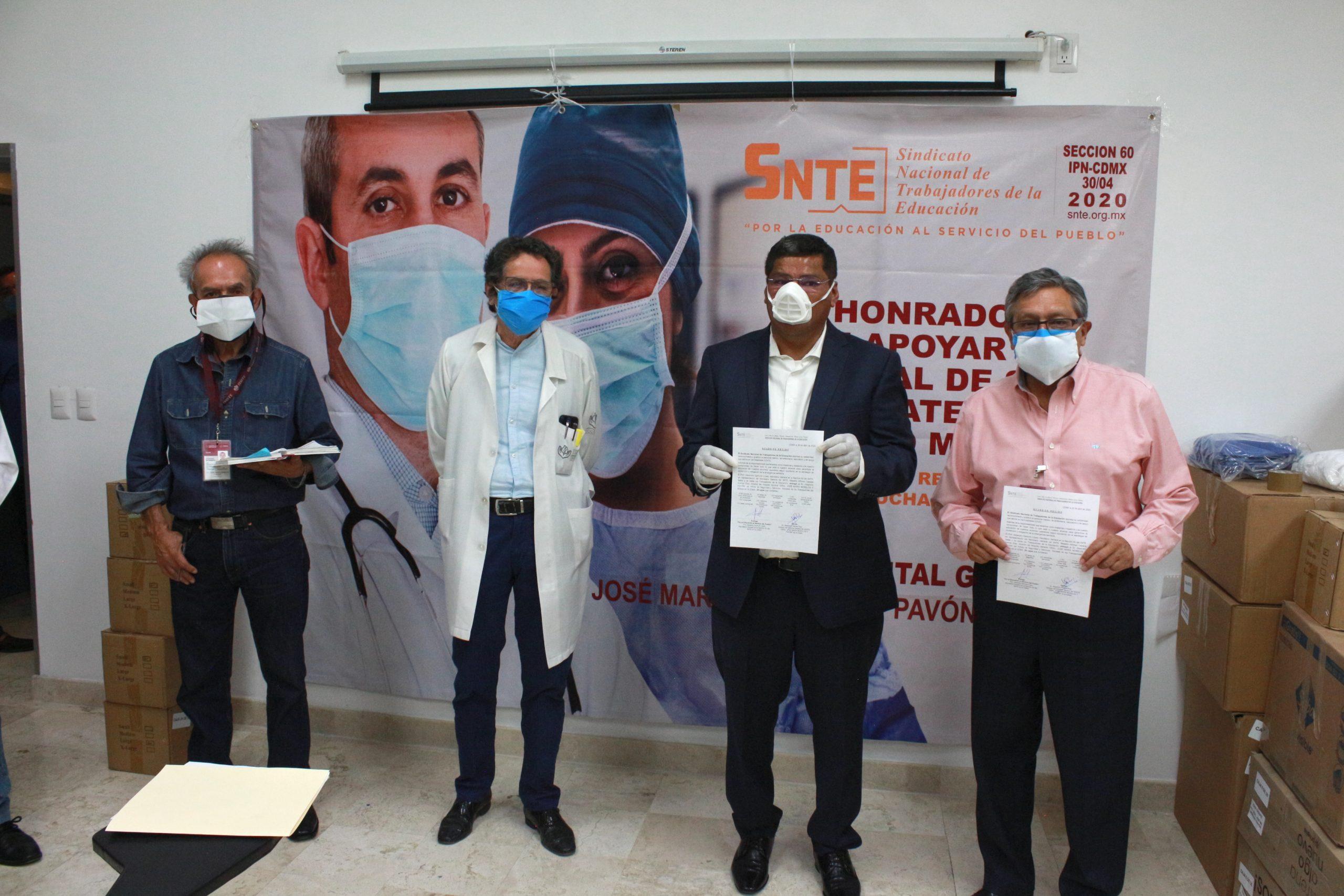 Entrega la Sección 60 insumos médicos de protección sanitaria a Hospital del ISSSTE