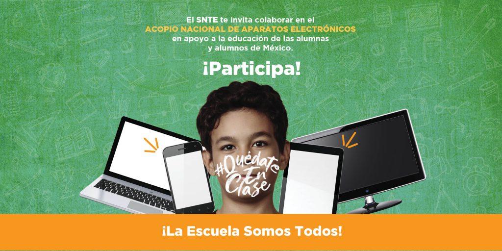 Convoca el SNTE a donar equipos electrónicos para alumnos de escasos recursos